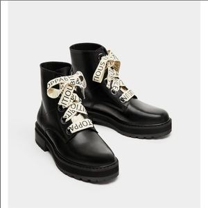 Zara Flat Leather Ankle Boots W/Slogan Laces - 7.5